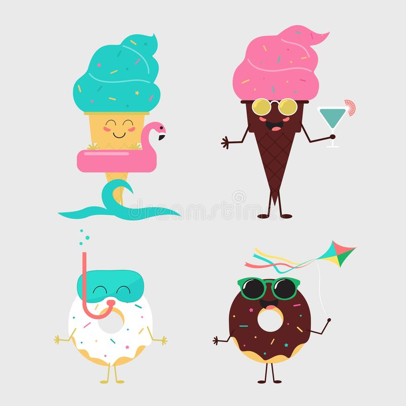 Summer sweets. Color ice cream and donuts cake design stock illustration