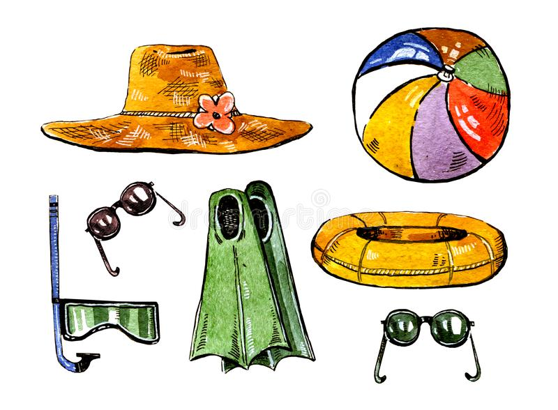 Summer swimming accessories. Hat, flippers, snorkle, ball, ring and glasses. Hand drawn watercolor set royalty free illustration