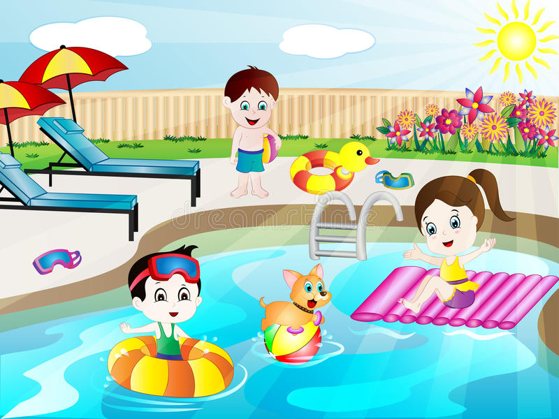 Summer Swimming Pool Fun Vector Illustration. With cute cartoon kids, a puppy and all pool elements and objects stock illustration
