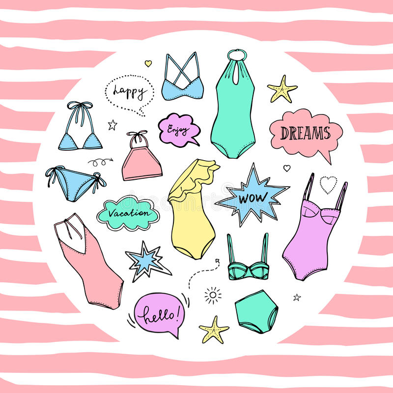 Summer swimming suits collection. Swimsuit sketch vector illustration