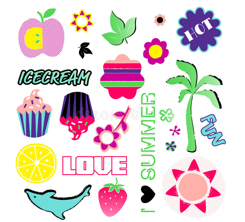 Download Summer Symbols stock vector. Image of pink, lemon, graphic - 7828385