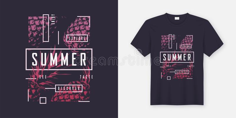 Summer t-shirt and apparel modern design with styled pineapples, typography, print, vector illustration. Global swatches stock illustration