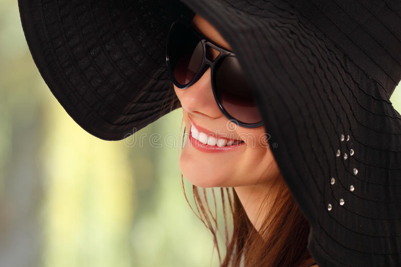 Download Summer Teen Girl Cheerful In Panama And Sunglasses Stock Photo - Image: 22176500