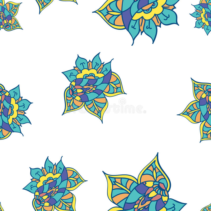 Summer template. Ethnic backdrop. Colorful floral elements. Indian paisley flowers. royalty free illustration