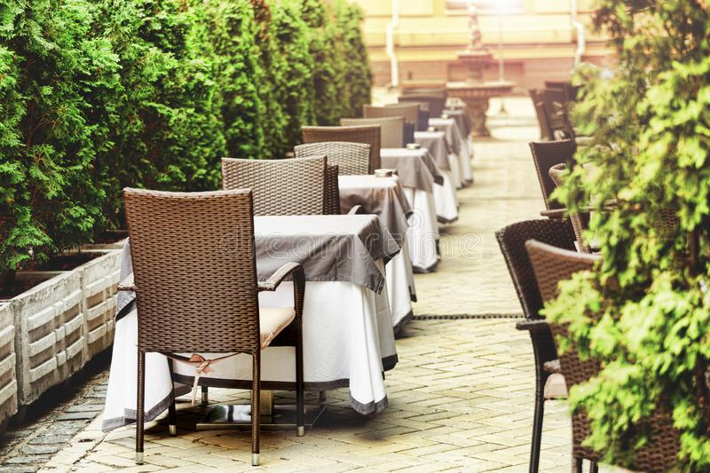 Summer terrace,Empty outdoor area, restaurant, cafe tourist cit royalty free stock photography