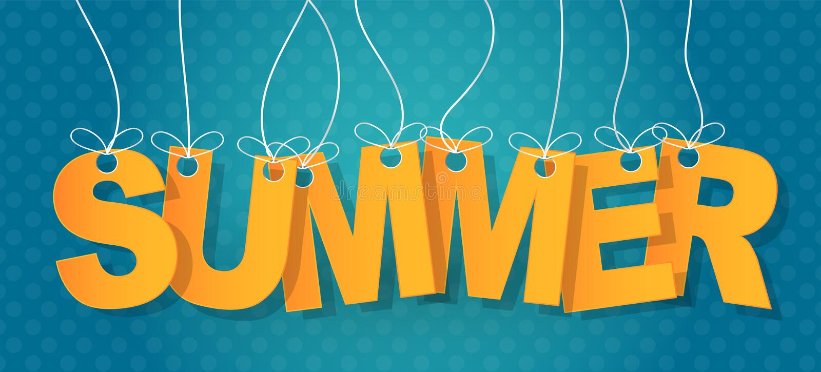 Summer text typography. Letters haning on a string on a blue background. Vector illustration.  stock illustration