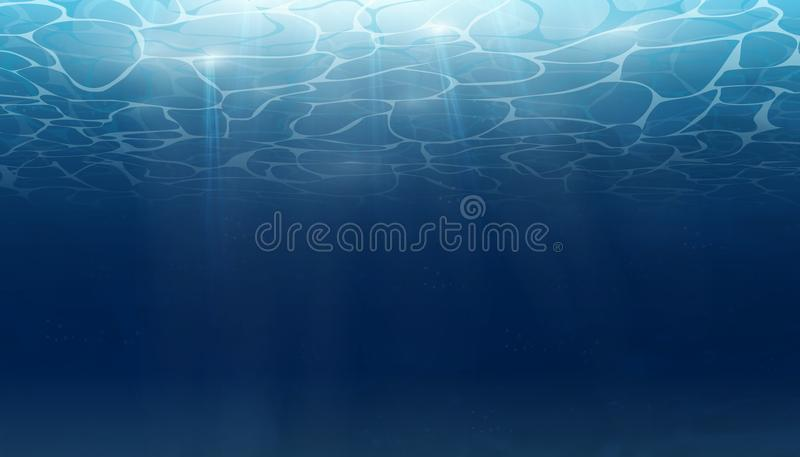 Summer. Texture of water surface. Underwater background with wave lights, bubbles of air, rays of sunshine. Waves. Effects. Blue underworld. Ocean, sea. Vector vector illustration