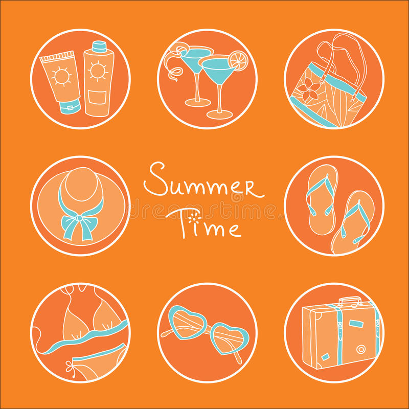 Download Summer theme icon set stock vector. Illustration of exotic - 21623239