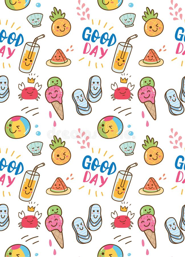 Summer themed doodle seamless background vector illustration