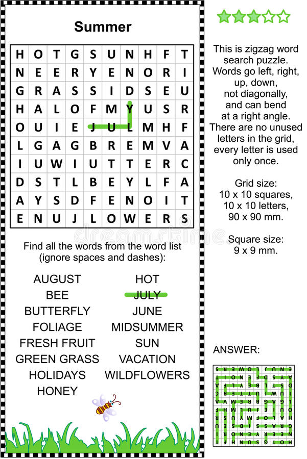 Summer themed wordsearch puzzle royalty free stock images