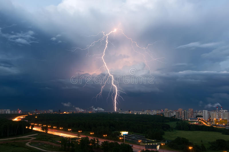 Summer thunderstorm with lightning over Moscow, Russia stock image