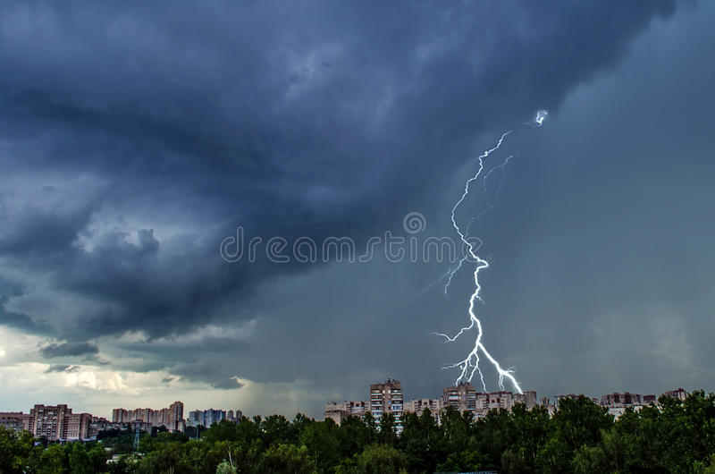 Summer thunderstorm over the city of St. Petersburg stock photos