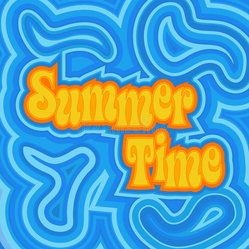 Summer Time. A cheerful psychedelic design with offset swirls around the words 'Summer Time vector illustration