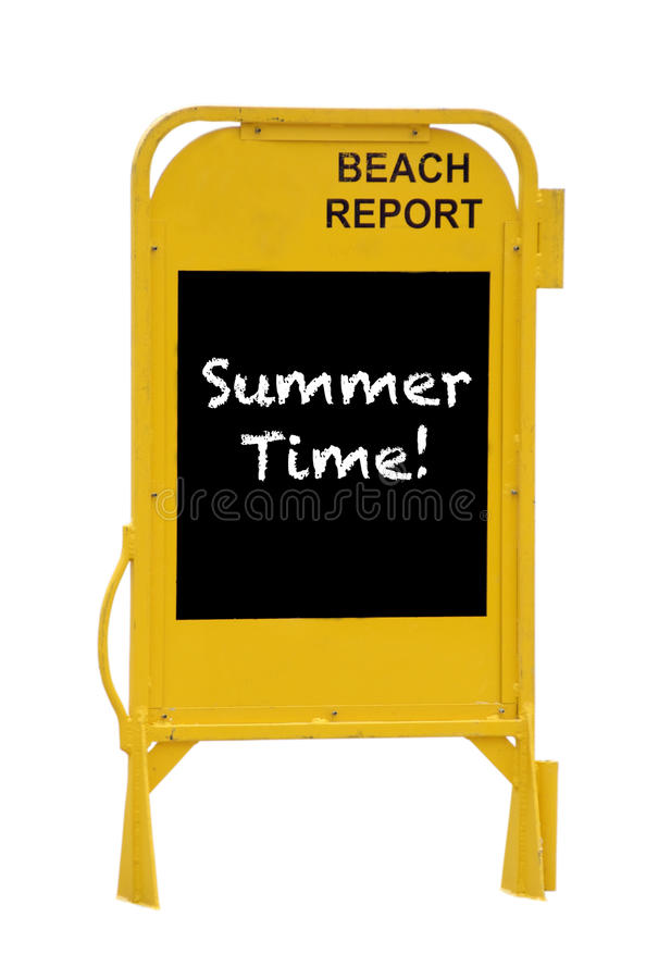 Summer Time. Yellow Australian beach report stand with Summer Time written on its blackboard; summer time celebration concept isolated on white royalty free stock image