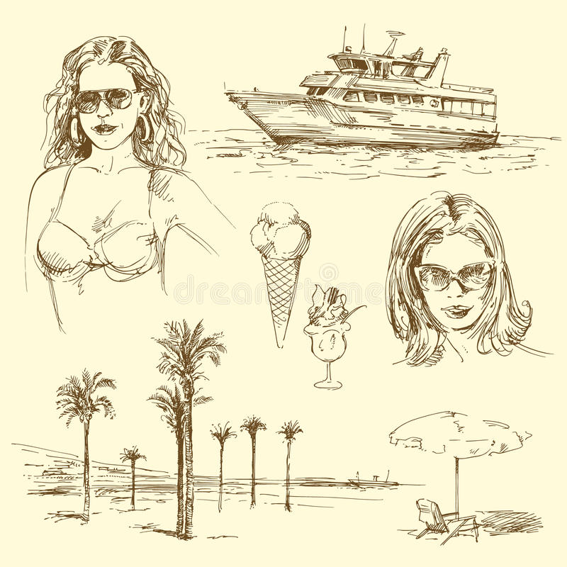 Summer time. Hand drawn collection stock illustration