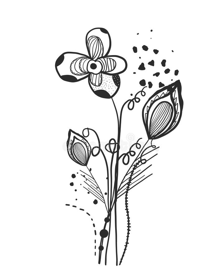 Summer time abstract black flowers. Nature theme. Abstract tattoo design vector floral design pattern. Background royalty free illustration