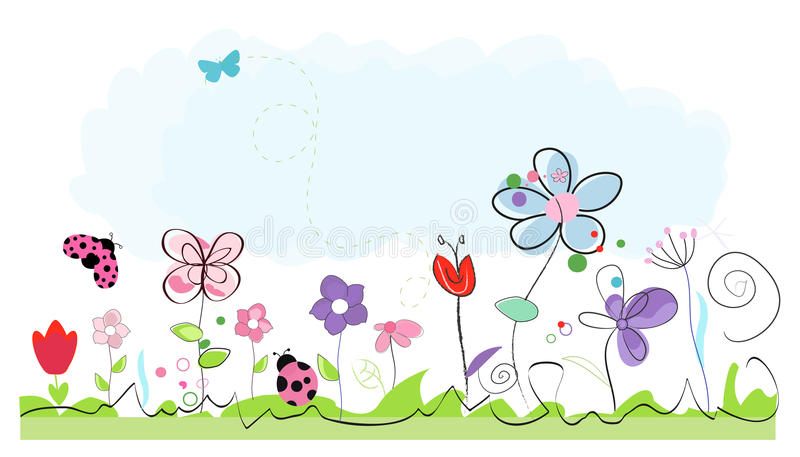 Summer time abstract colorful doodle flowers vector background. Summer time abstract colorful doodle flowers vector illustration background stock illustration