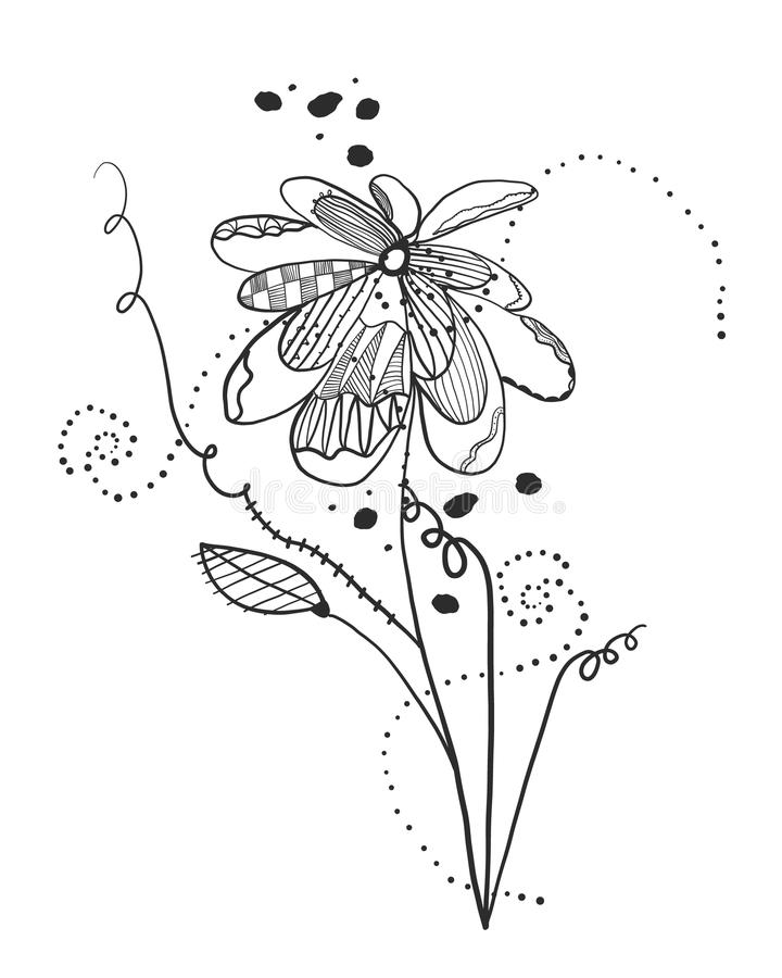 Summer time abstract flowers. Abstract tattoo design floral design pattern vector illustration