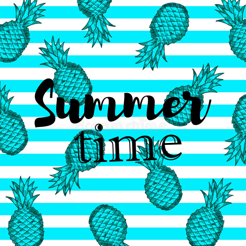Summer time background with hand draw blue pineapples vector illustration