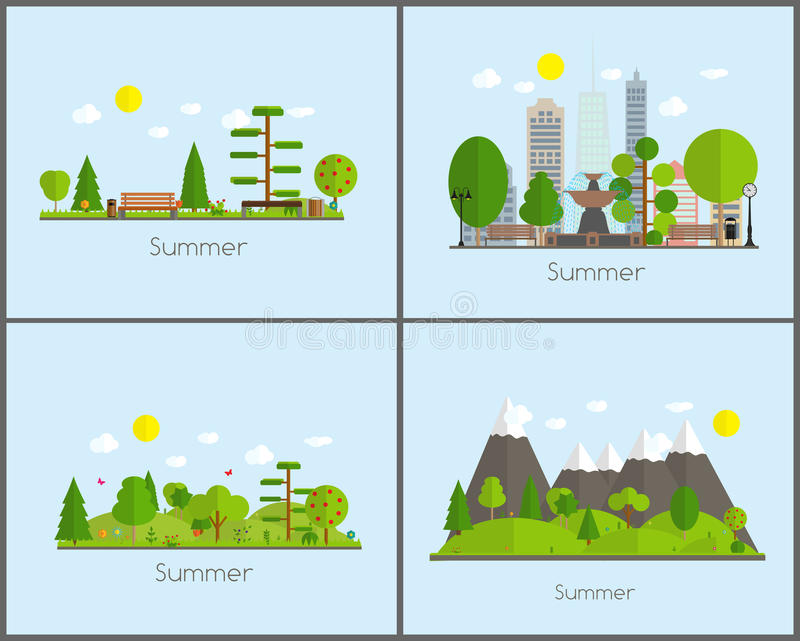 Summer Time Background Set in Modern Flat Design Vector Illustration royalty free illustration