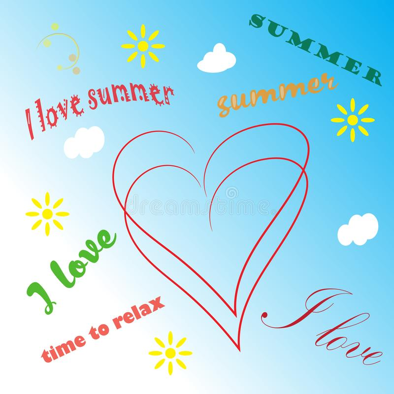 Summer time background with text illustration stock illustration