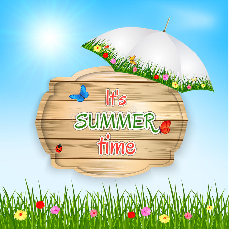Summer time background with text on wooden board in a grass, flowers and sky. Vector illustration. vector illustration