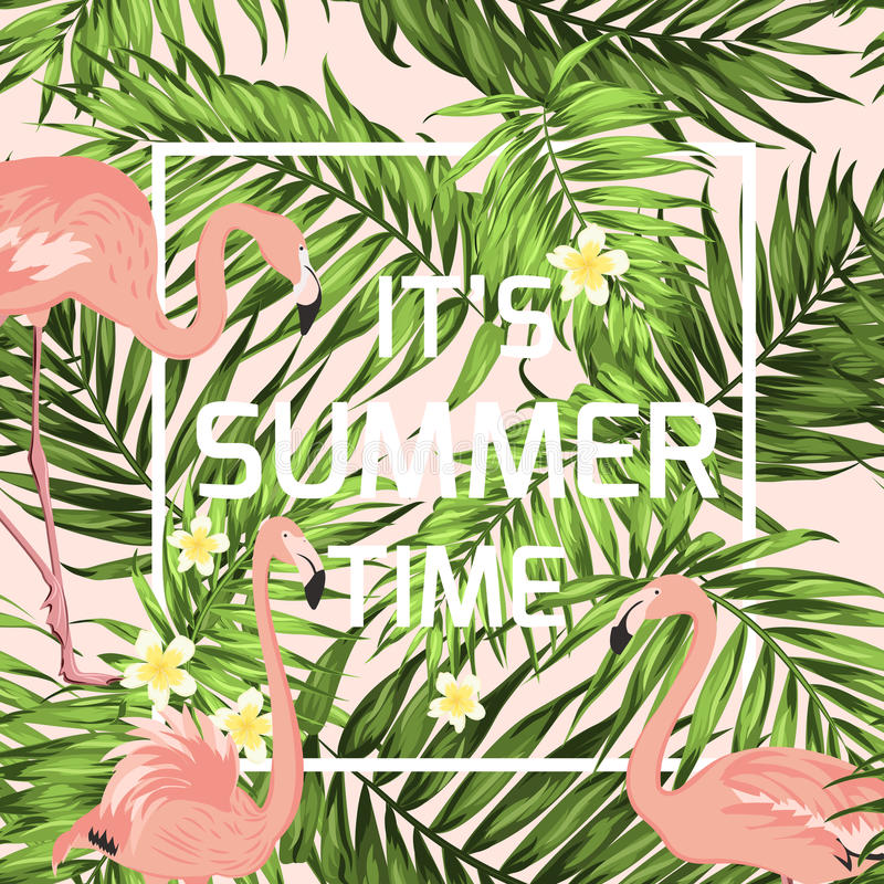 Summer time banner flamingo palm leaves flowers royalty free illustration