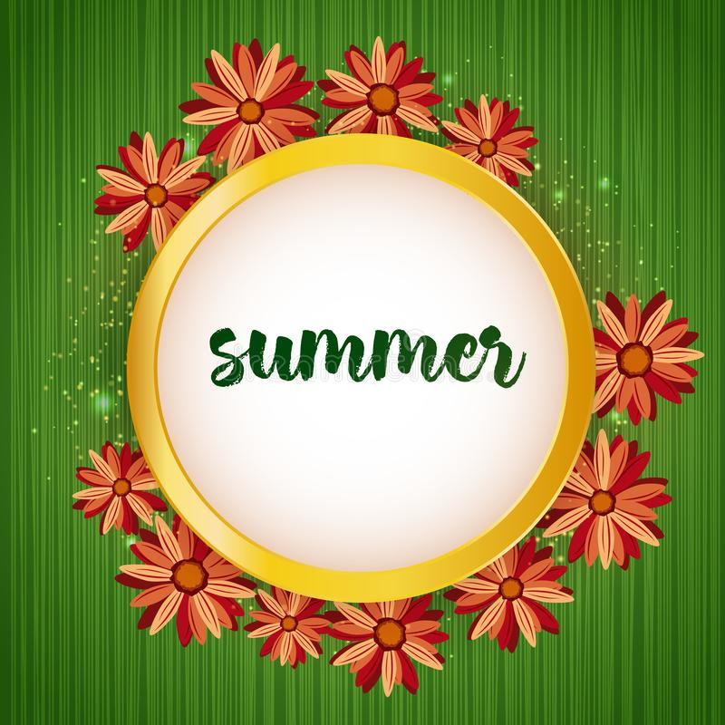 Summer time banner with floral frame on canvas background. Card for Holidays Decoration, Greeting template, Wedding royalty free illustration