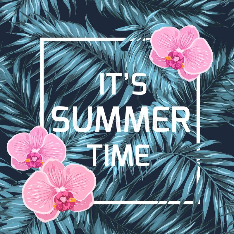 Summer time banner orchid palm leaves blue black vector illustration