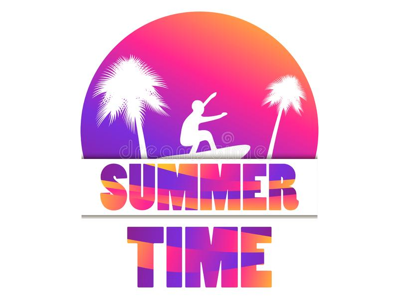 Summer time. Banner with palm trees and a surfer on a sunset background. Gradient yellow and purple. Vector vector illustration