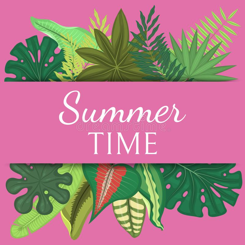 Summer time banner, poster vector illustration. Tropical leaves. amazing palms. Jungle leaves, split leaf, philodendron. Plant. Fashion, interior, wrapping vector illustration