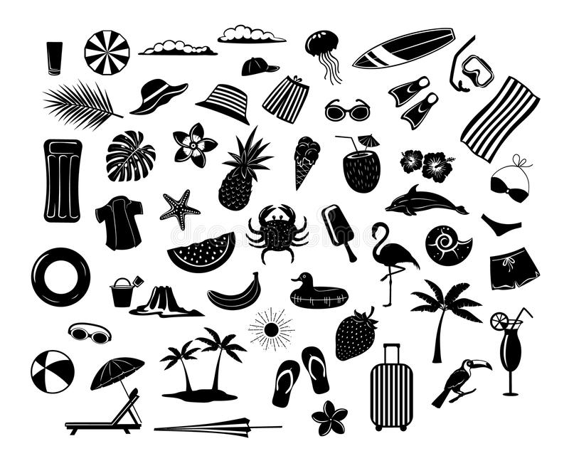 Summer time beach holidays travel design elements, decoration Silhouettes. Mattress, suitcase, umbrella, sunchair, palm tree, leaf fruits pineapple, coconut royalty free illustration