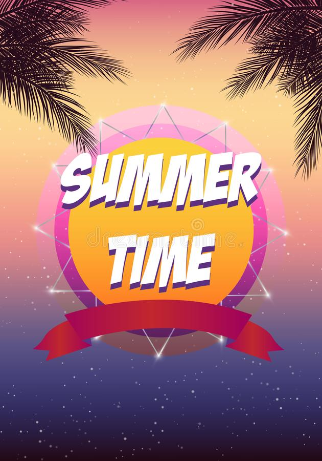 summer time beach party flyer 2018 trend colors vector design eps