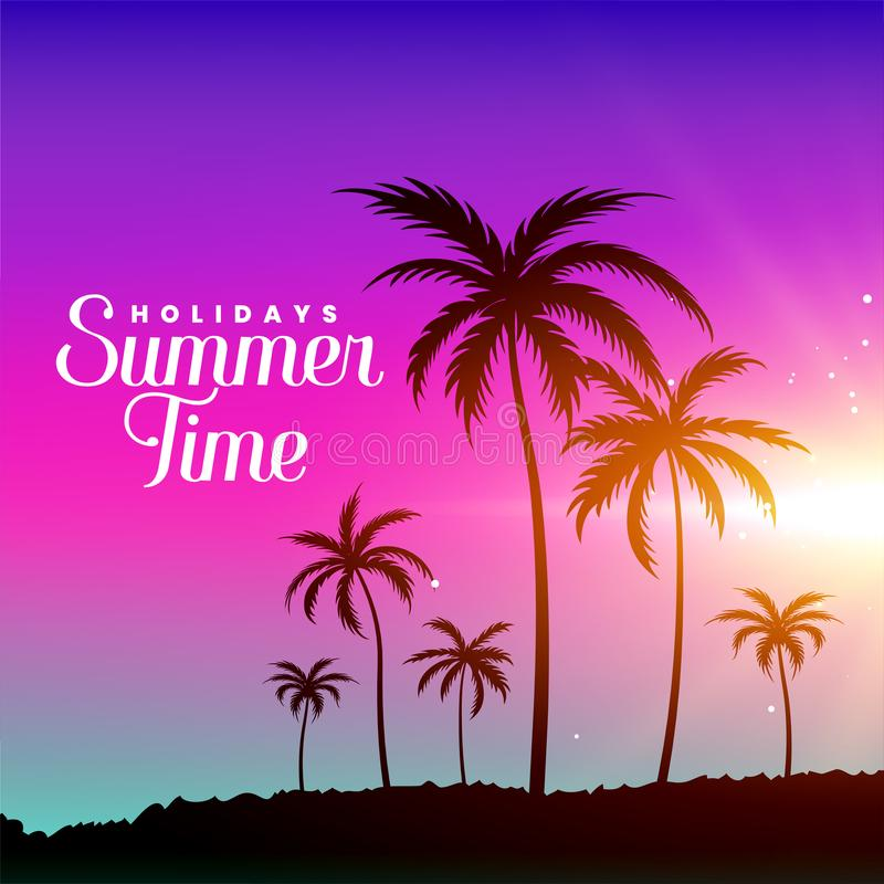 Summer time beach scene with palm trees. Vector royalty free illustration