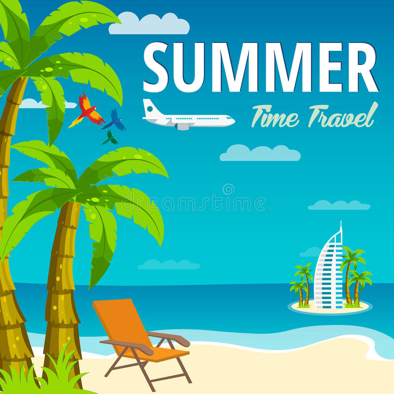 Summer Time in Beach Sea Shore. Time travel. Lounge chair. Dubai. Vector Illustration. vector illustration
