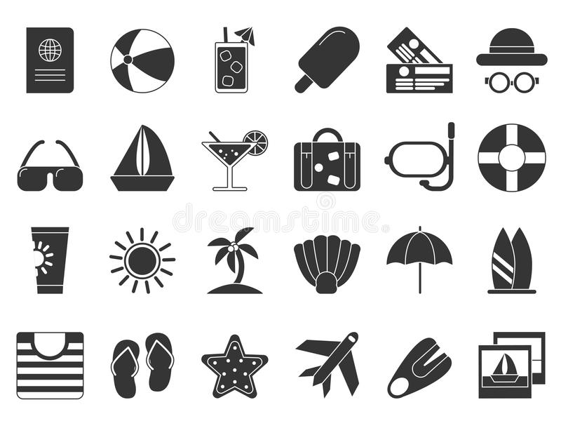 Summer time black symbols. Vector icon set isolate vector illustration
