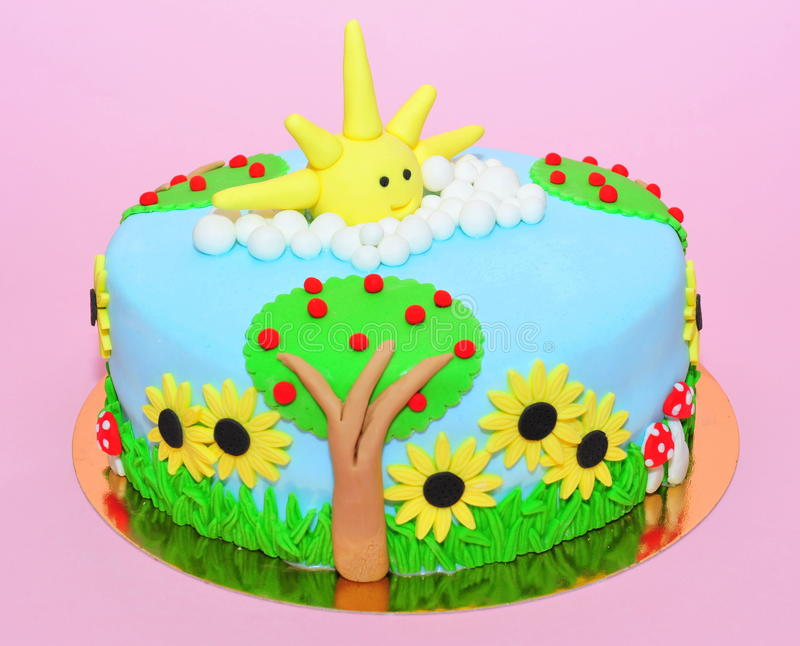 Summer time cake. Nature in the summer theme cake stock image