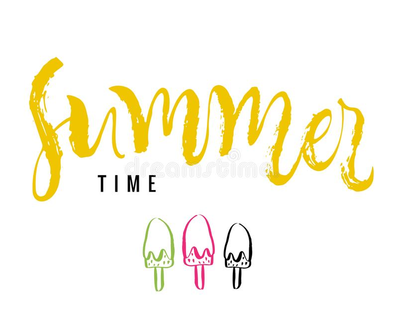 Summer time. Calligraphy greeting card with ice-cream. Hand draw vector illustration