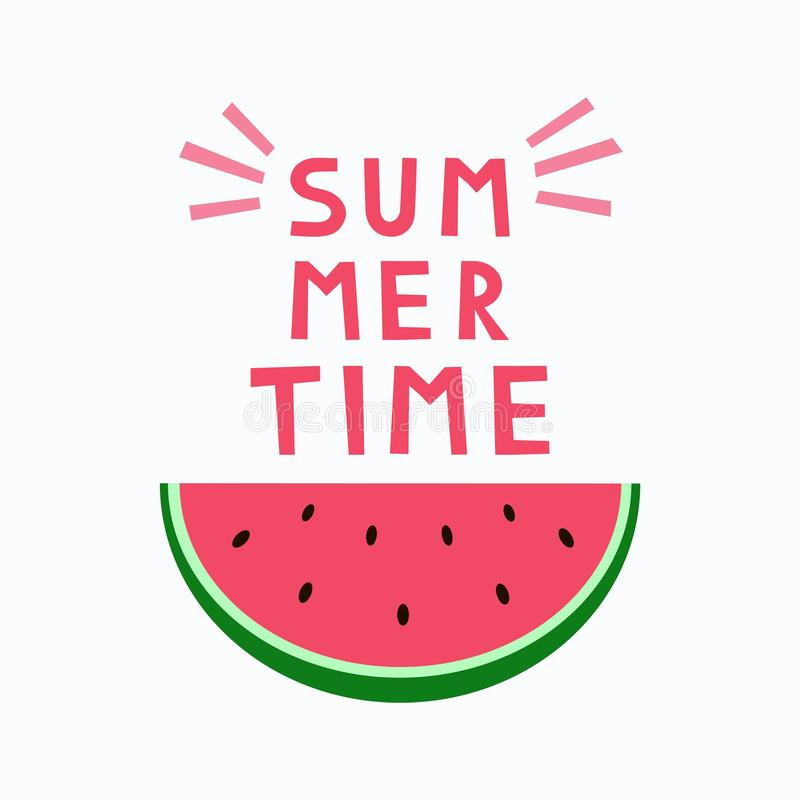 Summer time card. Cute poster. Sliced watermelons. stock illustration