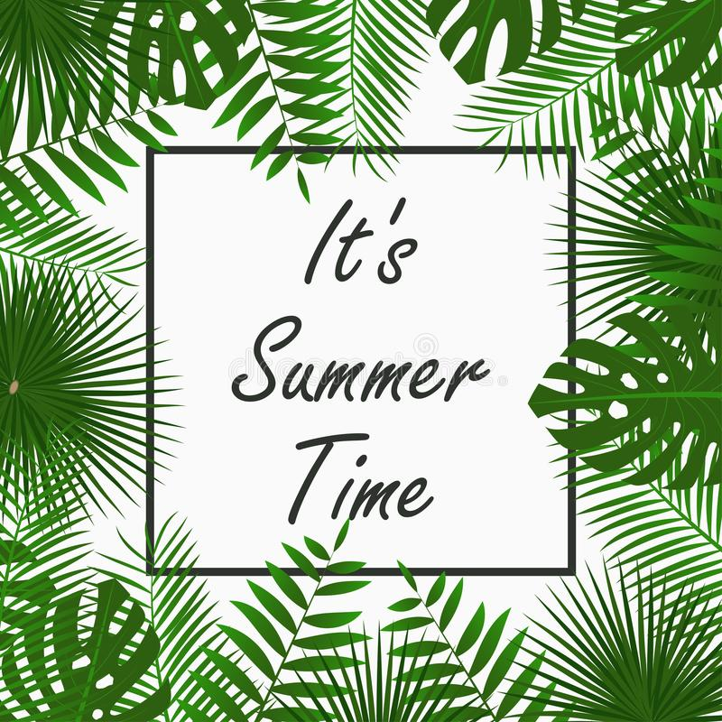 Summer Time card design with - tropical palm leaves, jungle leaf , exotic plants and border frame. Graphic for poster, banner. vector illustration