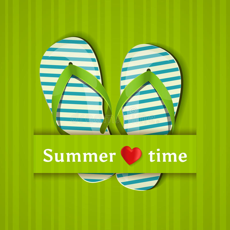 Summer time. Card with flip flops. Vector illustration. Summer time. Vector card with flip flops royalty free illustration
