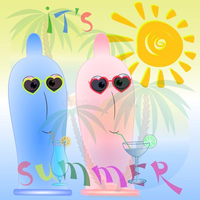 Summer time cartoon poster vector illustration