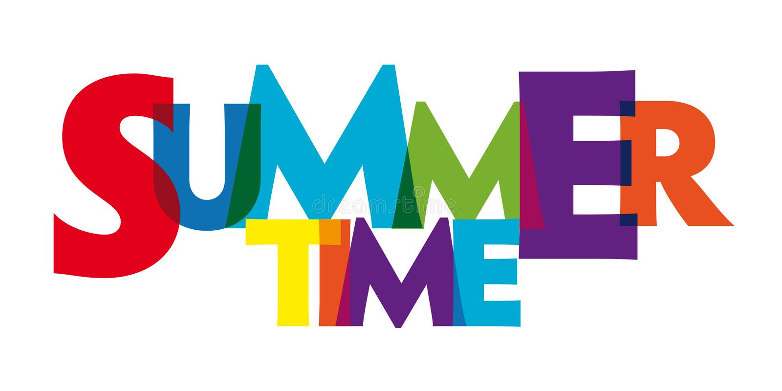 Summer time colorful illustration backgrround. Banner summer time design with colorful letters in white background vector illustration