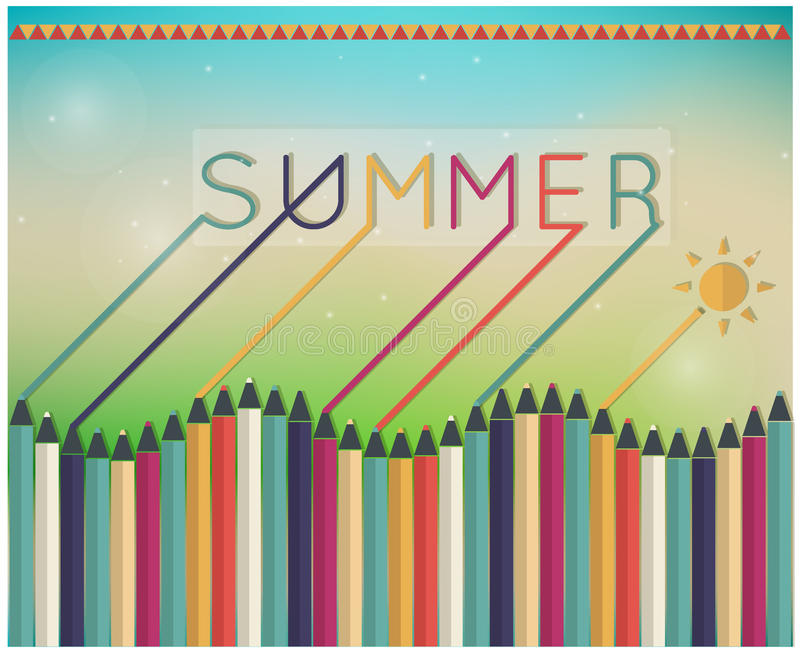 Summer time Coloring pencils. Vector illustration of a glowing Summer time background, coloring pencils vector illustration