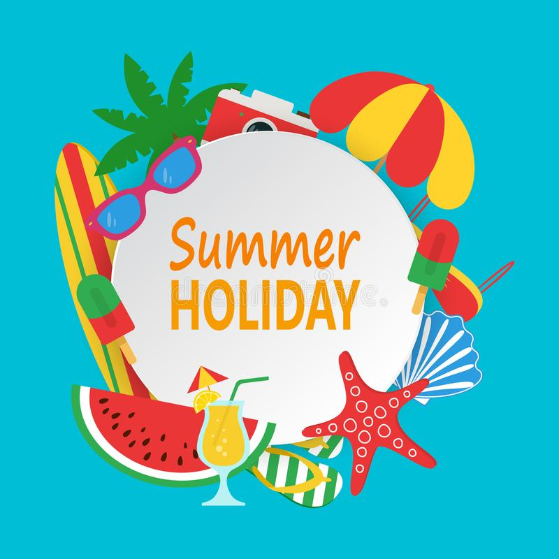 Summer time concept with white circle for text and colorful beach elements. Summer holiday design with palm, surfboard vector illustration