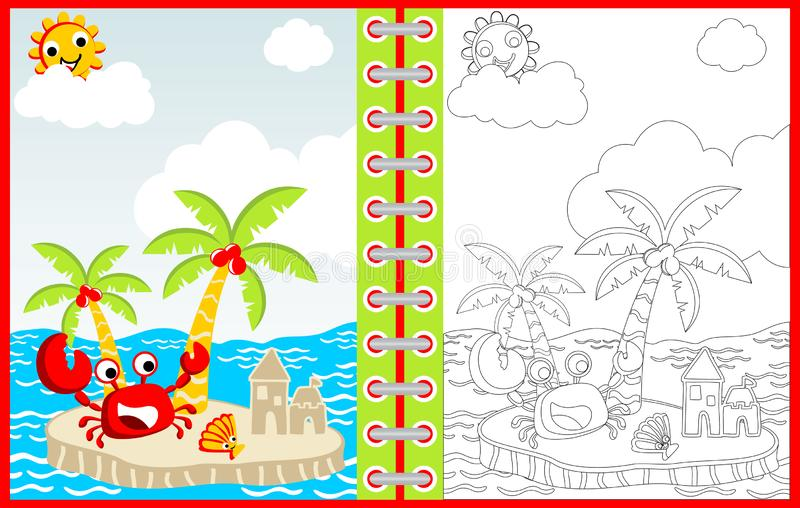 Summer time with crab and shellfish cartoon, coloring page or book royalty free illustration