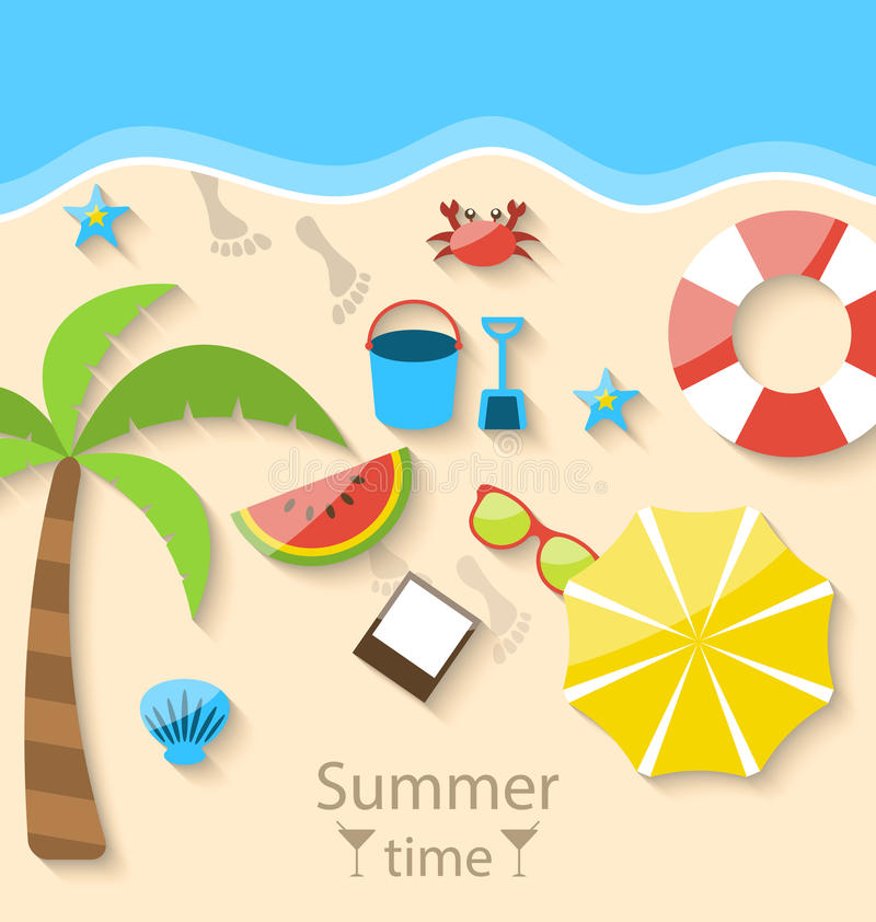 Summer time with flat set colorful simple icons on the beach stock illustration