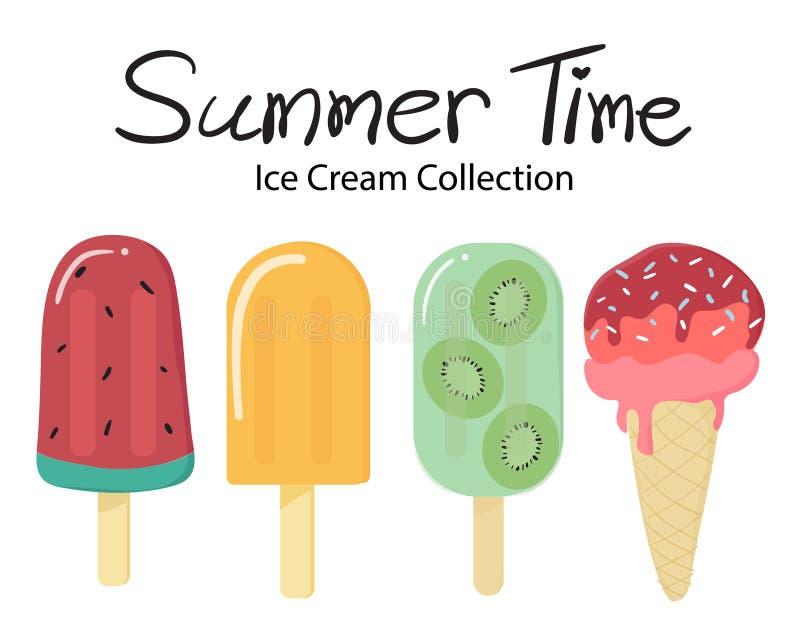 Colorful summer time flat vector fruit ice cream popsicle collection. Summer time flat vector fruit ice cream popsicle collection sweet food cold dessert frozen stock illustration