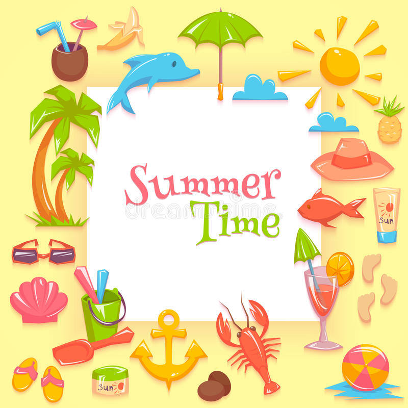 Summer time frame. Vector illustration of different things for vacations rounding the frame with summer time lettering stock illustration