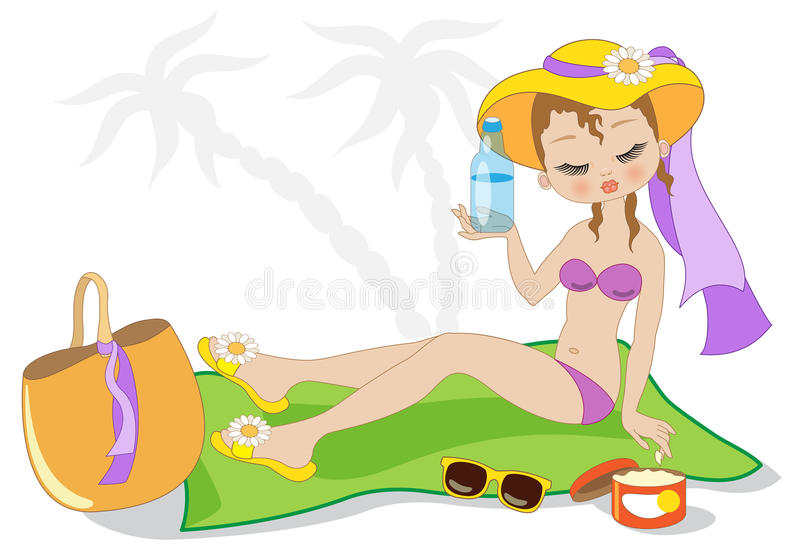 Download Summer time stock vector. Illustration of woman, vector - 91924987